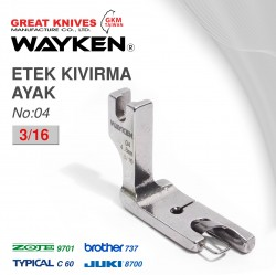 WAYKEN - WAYKEN NO:4 ETEK KIVIRMA AYAK 3/16 BROTHER 737 / JUKI 8700 TYPICAL C60 / ZOJE 9701